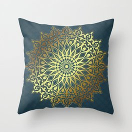 Blue Golden Mandala Throw Pillow