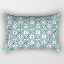 Retro . Floral pattern on a blue background . Rectangular Pillow