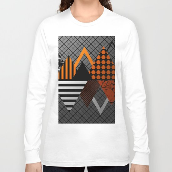 Industrial Geometry - Metallic, geometric, bronze, silver and gold, textured, patterned artwork Long Sleeve T-shirt