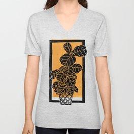 Fiddle Leaf Fig Block Print (Orange) Unisex V-Neck