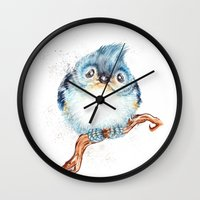 baby Wall Clocks featuring Baby titmouse by Patrizia Ambrosini