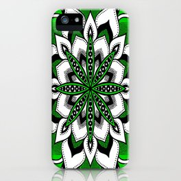 Mandala : Green Flower Mandala iPhone Case
