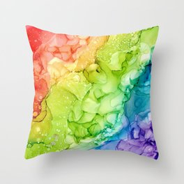 Rainbow Smoke Abstract 821 Alcohol Ink Painting by Herzart Throw Pillow