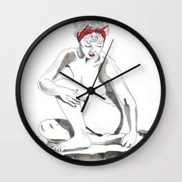 Mother Earth Grounding; seated nude Wall Clock