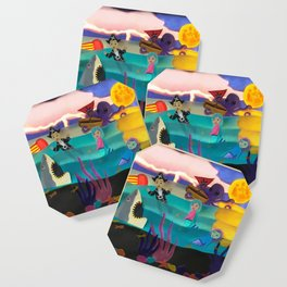Little Pirate Shipwrecked in Mermaid Land Paper Art Coaster