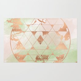 Earthen Souls Sri Yantra - Copper Rose Gold Rug