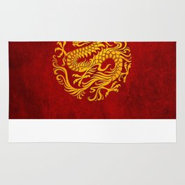 Traditional Yellow and Red Chinese Dragon Circle Rug