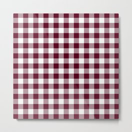 Gingham Bordeaux Metal Print