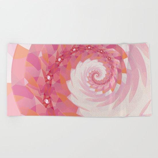 Strawberry Pink & Tangerine Orange Spiral Beach Towel