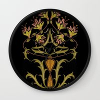 art nouveau Wall Clocks featuring art nouveau by Ariadne
