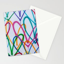 Multicoloured Love Hearts Graffiti Repeat Pattern Stationery Cards