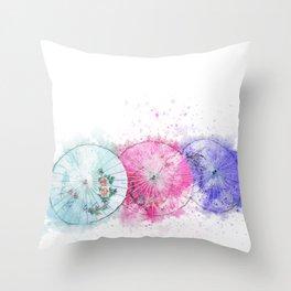 Asian Umbrellas Watercolor Throw Pillow
