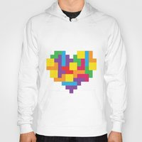 tetris Hoodies featuring Tetris Heart by Shannon's Sketchfest
