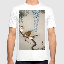 Sparrows and wisteria flower - Vintage Japanese Woodblock Print Art T-shirt