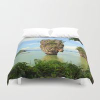 surfboard Duvet Covers featuring 007 island by mark ashkenazi