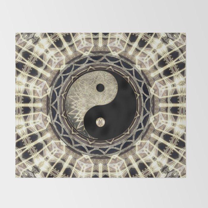 Yin Yang Geometry Mandala V1 Throw Blanket