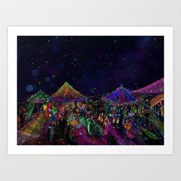 Magical Night Market Art Print