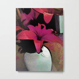 Pink Lily in a Vase Metal Print