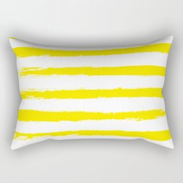 Sunny Yellow STRIPES Handpainted Brushstrokes Rectangular Pillow