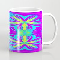 psychedelic Mugs featuring psychedelic Floral Fuchsia Aqua by 2sweet4words Designs