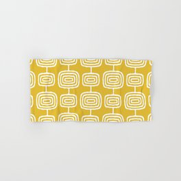 Mid Century Modern Atomic Rings Pattern Mustard Yellow Hand & Bath Towel