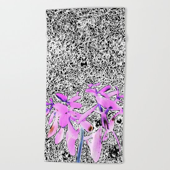 Neon Succulent Black and White Scribbles! Beach Towel
