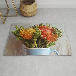 Flowers in a vase - with Pincushion Protea Rug