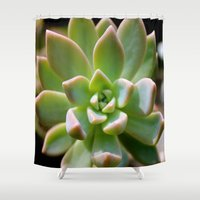 succulent Shower Curtains featuring Succulent by Wandering Star Trails