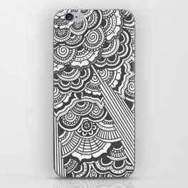 Grey floral mandala design - hydrangeas iPhone Skin