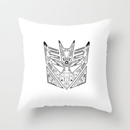 Decepticon Tech Black and White Throw Pillow