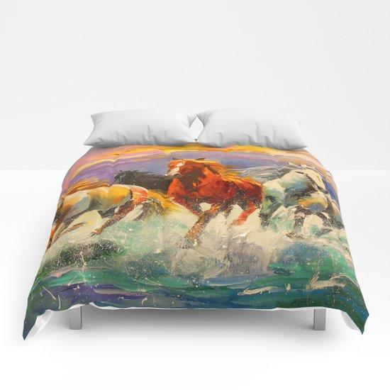 A herd of horses Comforters