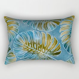 Monsteras leaves or Swiss cheese plant artfully painted in different colors Rectangular Pillow