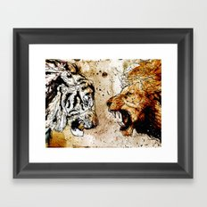 Lion vs Tiger Framed Art Print