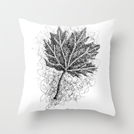 Scribble Leaf Throw Pillow