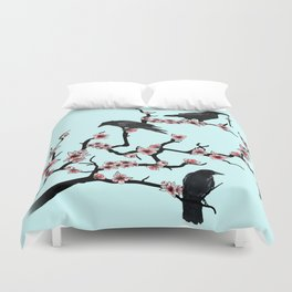 Ravens on cherry tree Duvet Cover