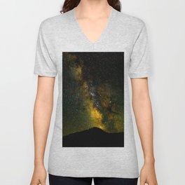 Beautiful Yellow Milky way Galaxy At Night Stars Sky Landscape Photography Unisex V-Neck