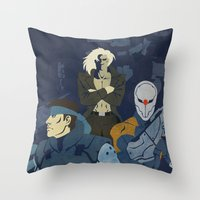 metal gear solid Throw Pillows featuring Metal Gear Solid 1: The Twin Snakes by Monserratt