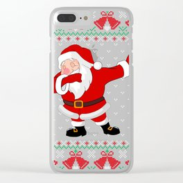 Santa Dabbing Ugly Christmas Sweater Clear iPhone Case