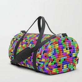 Tetris Inspired Retro Gaming Colourful Squares Duffle Bag