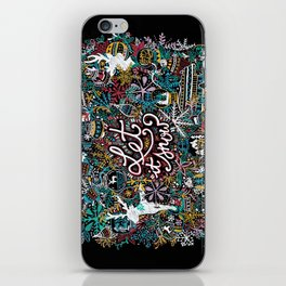 'Let It Snow' Christmas Doodle Drawing iPhone Skin