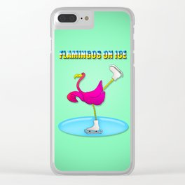 Flamingos on ice Clear iPhone Case