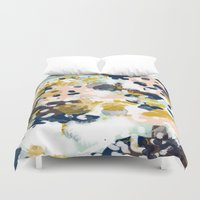 girly Duvet Covers featuring Sloane - Abstract painting in modern fresh colors navy, mint, blush, cream, white, and gold by CharlotteWinter
