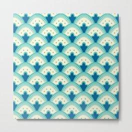 Fan Pattern Turquoise Metal Print