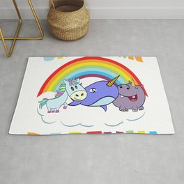 Colorful Rainbow Unicorn Party Hippopotamus Seal Orca Pastel Color T-shirt Design Sea Ocean Animals Rug
