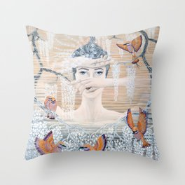 Wisteria tree Throw Pillow