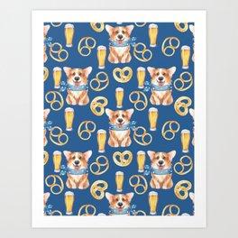 Majesty Pembroke - Happy Corgis On Octoberfest Bavaria Germany - Bavarian Blue Art Print