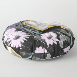 Pick Me Up I - Floral Mixed Media Photography Illustration Floor Pillow