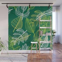 Lovely green leaves pattern illustration Wall Mural