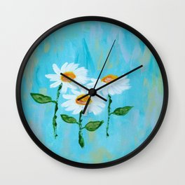 Three Daisies, Floral Abstract Painting, Flower Painting, Light Blue White Flowers Wall Clock