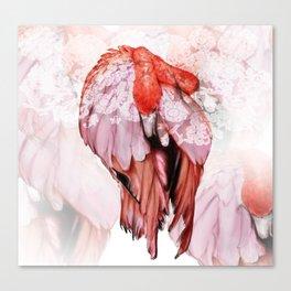 Pink Flamingo Handpaint Canvas Print